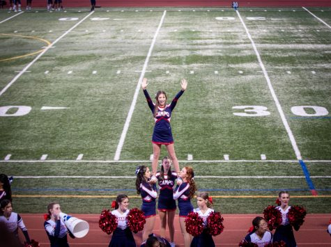 Campo cheerleaders cheering for the 1st home game against Aptos.