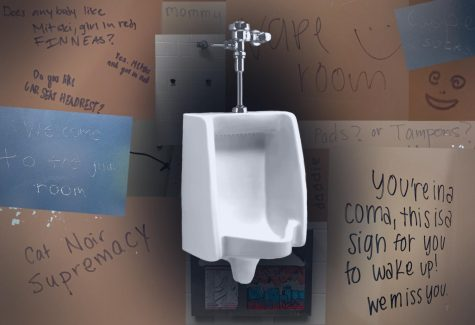 Vandalism covers the walls of the Campolindo restrooms.