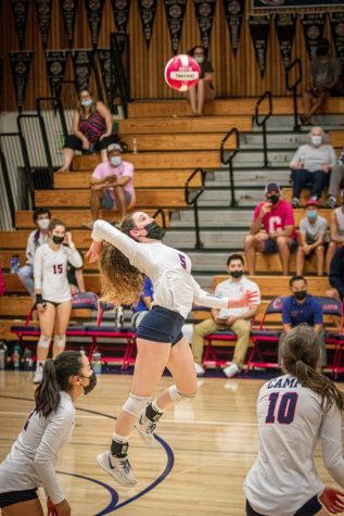Senior Audrey Baumer with the attack.