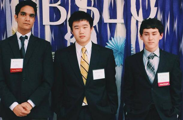 Seniors Vikram Bhaduri, Adam Lin, and Brian Lederman at the 2014 Bay Area Sectionals.