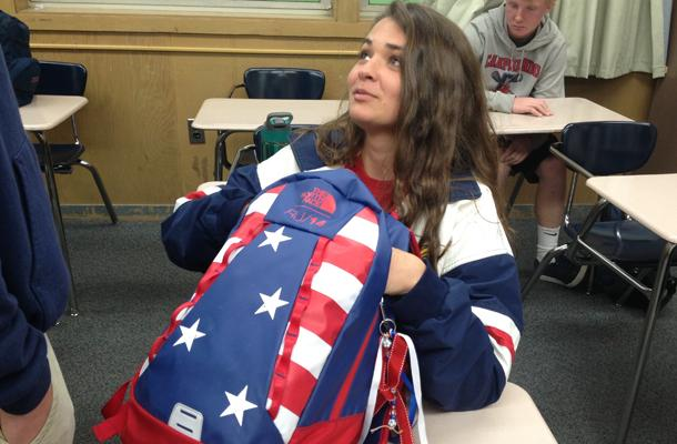 Junior Emily Parish shows off her star-spangled backpack on U.S.A. Day.