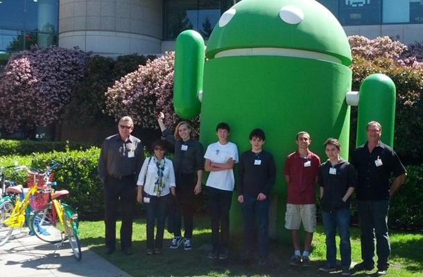 Business Club arrives at Google and poses with a giant Android statue. The club takes a trip to Google every year to tour the facilities and learn about how a successful business functions.