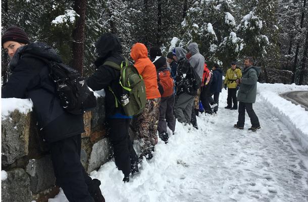 Boy scouts on a hike