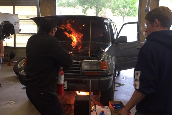 Ignition Sparks Auto Shop Fire