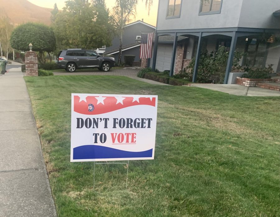 Community members placed signs on their front yards encouraging others to vote.