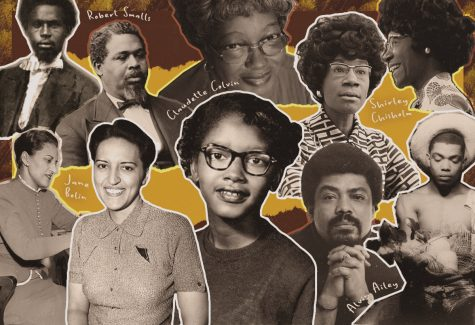 From left to right: Robert Smalls, Jane Bolin, Claudette Colvin, Shirley Chisholm, Alvin Ailey