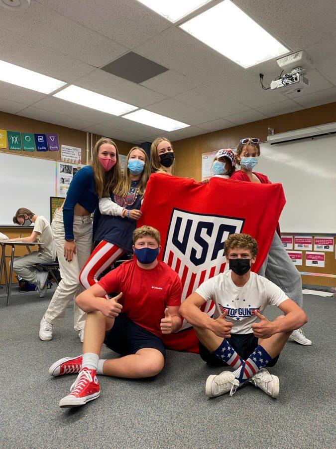Students Kendall Hollyfield, Molly Dougherty, Vivi McCarthy, Claire Diamantidis, Caroline Obsitnik, Shane Harris, and James Erickson show their spirit on USA Day.